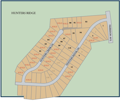 Communtiy map of Hunters Ridge